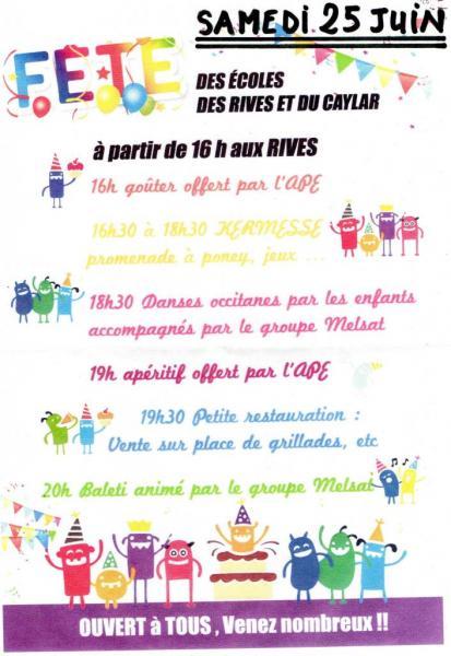 Fête RPI Le Caylar-Les Rives 25 juin 2016