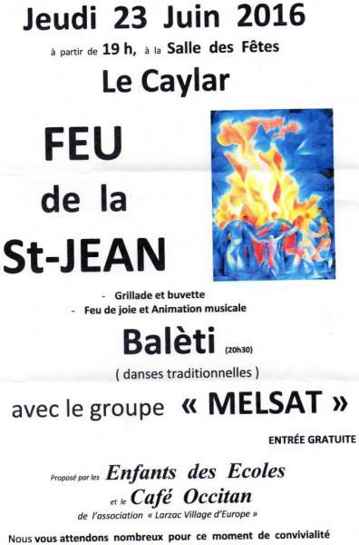 Feu de la St Jean Le Caylar 23 juin 2016
