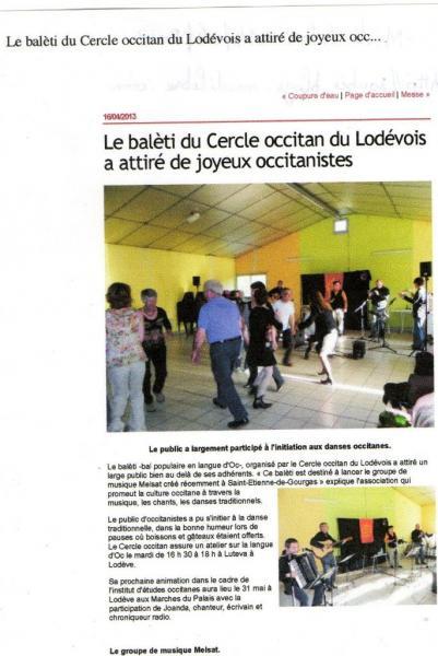 midi libre balèti Soubès avril 2013