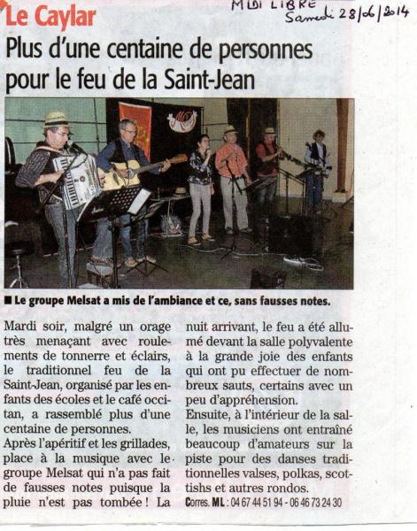 midi libre feu St Jean Le Caylar juin 2014