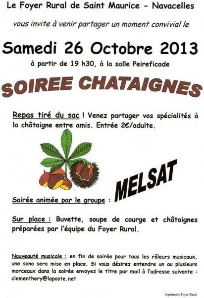 soirée chataignes ST Maurice Navacelles 26 octobre 2013